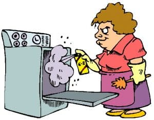 Oven cleaning cartoon