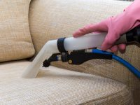 Upholstery being deep cleaned